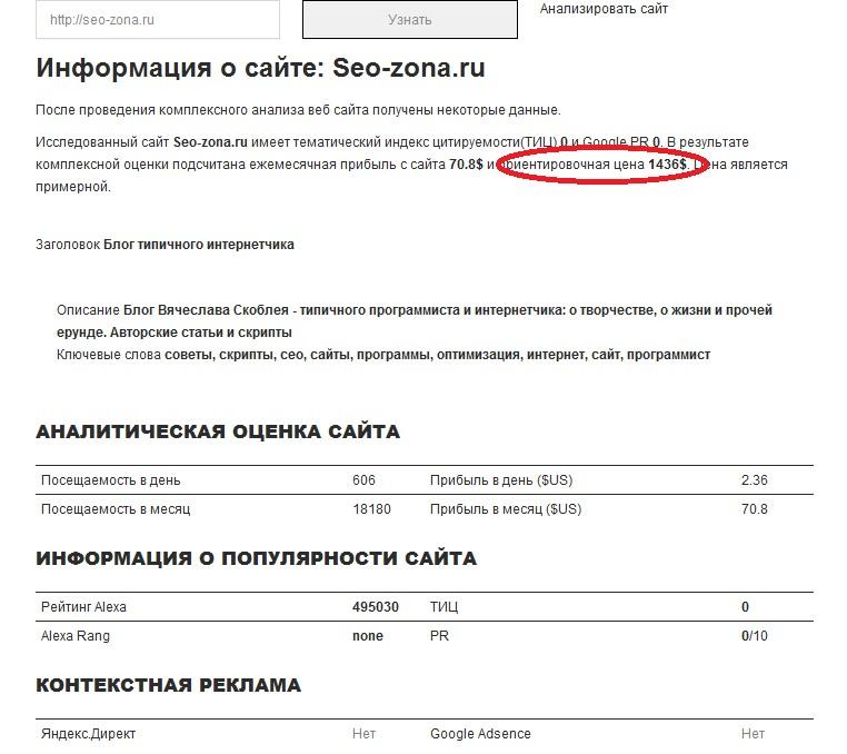 Тарифы ростут: по версии costmysite.ru сайт seo-zona.ru достоен цены в 1436$