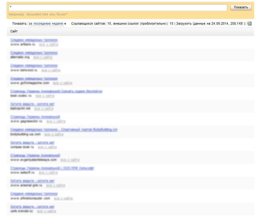 Ссылки в панели Яндекс.Вебмастер, появившиеся в течении суток после индексации страниц на внешних сайтах