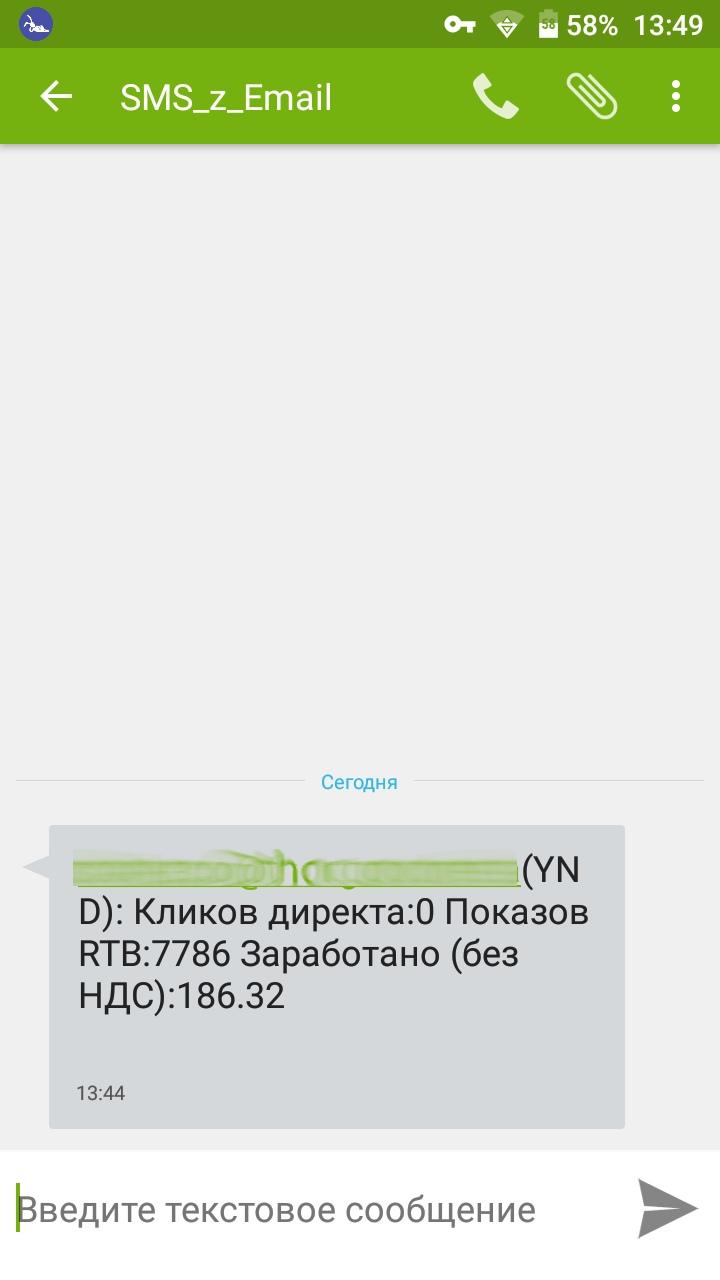Доход РСЯ по SMS